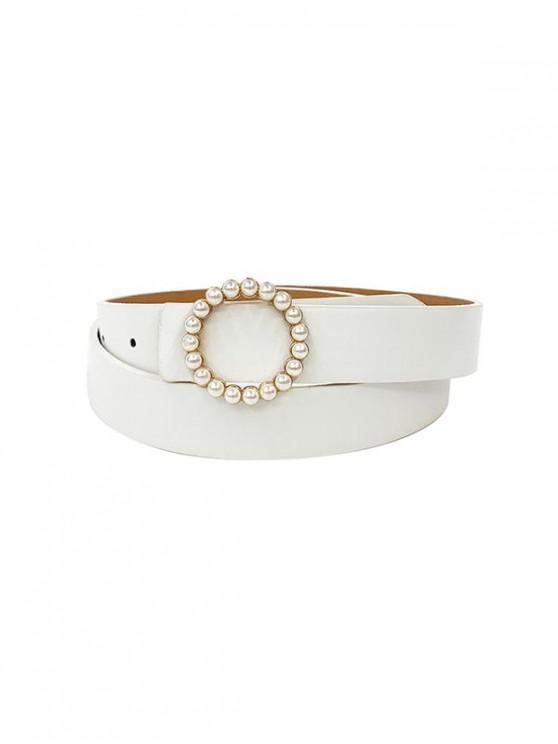 Vestido Mini Cinturón Hebilla Perla - Blanco