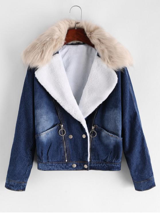 Reißverschluss Vorder Eine Linie Pelz Kragen Denim Jacke - Denim Blau XL