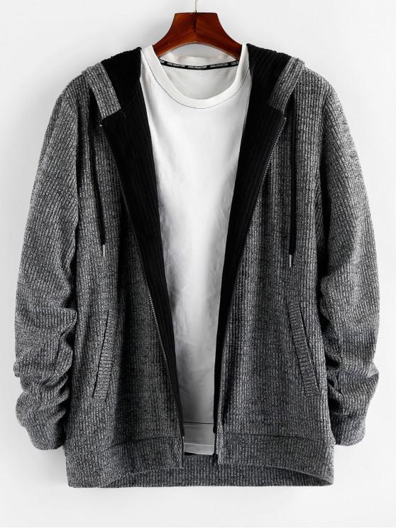 online ZAFUL Zip Up Drawstring Hood Cardigan - GRAY L