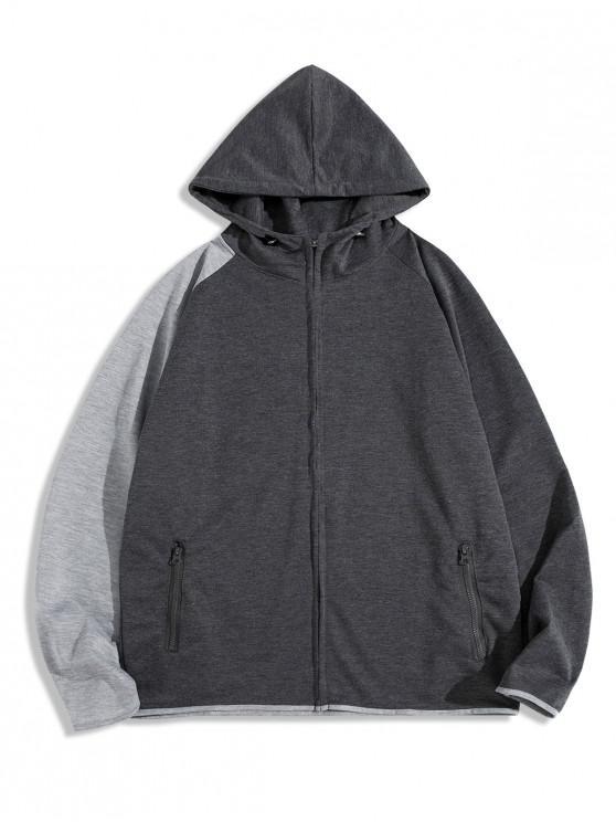 women's Colorblock Splicing Raglan Sleeve Zip Up Hoodie - DARK GRAY 3XL