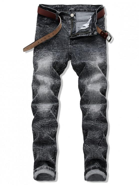 shops Long Crease Wash Zip Fly Jeans - BLACK 34