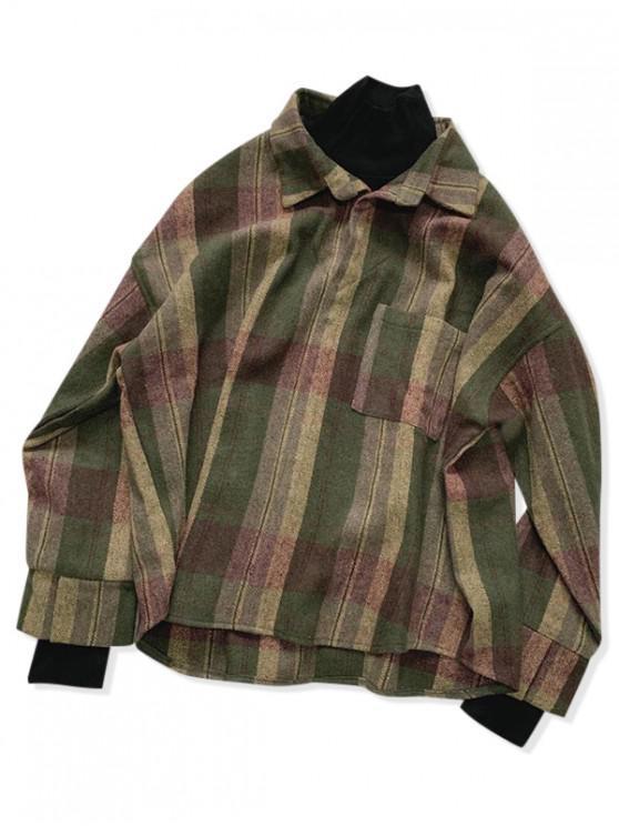 Alte Karierte Muster Taschen Stil Jacke - Rehbraunes Grün XL
