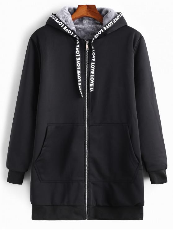 unique Letter Print Ribbon Zip Up Plush Hooded Coat - BLACK S