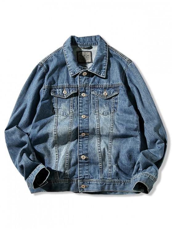 affordable Solid Color Ripped Button Denim Jacket - DENIM BLUE XS