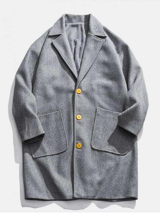 unique Drop Shoulder Pockets Longline Woolen Coat - LIGHT GRAY 3XL