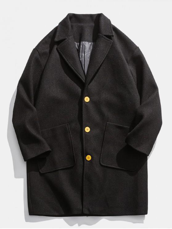 lady Drop Shoulder Pockets Longline Woolen Coat - BLACK 2XL