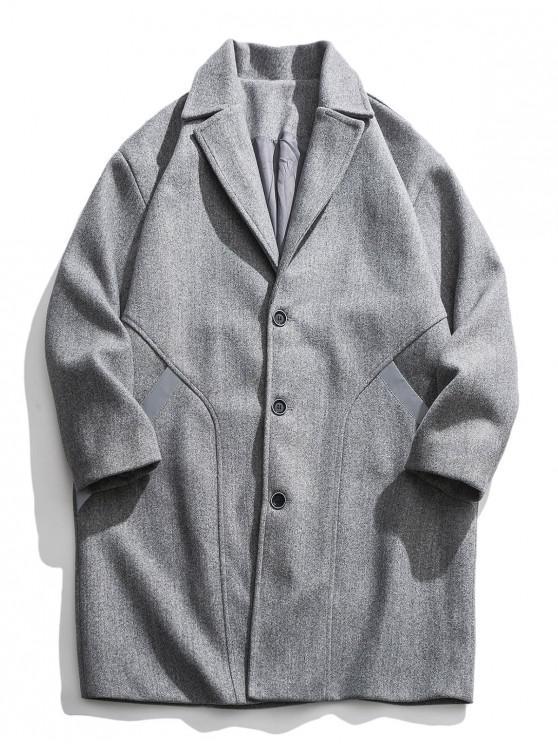 outfits Reflective Stripe Trim Drop Shoulder Longline Woolen Coat - LIGHT GRAY XL
