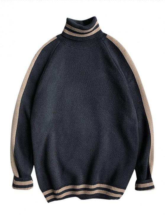Lässige Gestreifter Muster Pullover - Pechschwarz M
