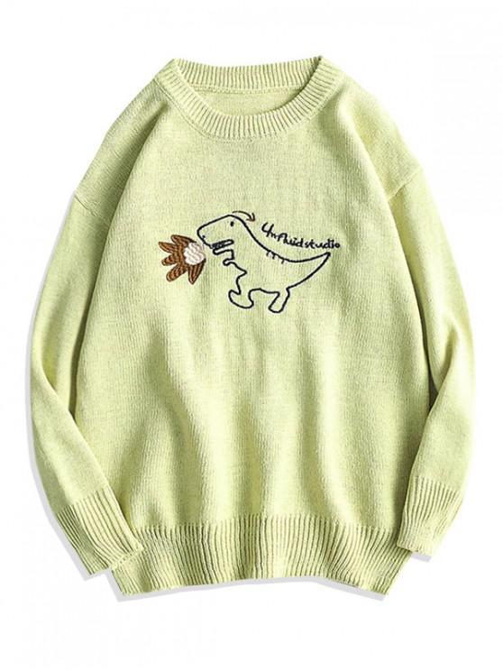 Cartoon Dinosaur broderie Pulover Pulover - Verde galben M