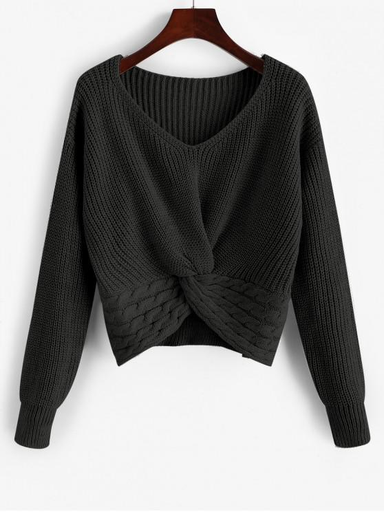outfits ZAFUL Twist Front Cable Knit Chunky Sweater - BLACK S