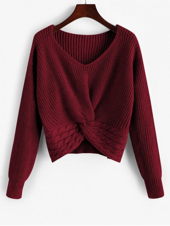 chic ZAFUL Twist Front Cable Knit Chunky Sweater - RED WINE L