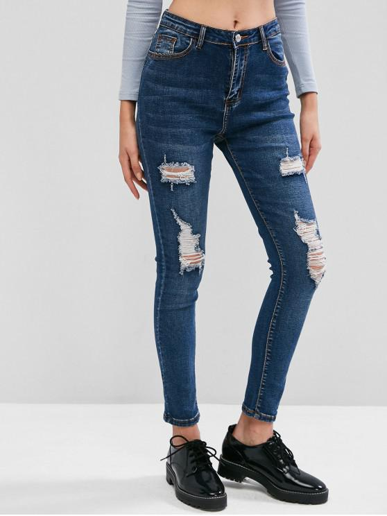 outfits Distressed Pocket Zipper Fly Jeans - BLUE S
