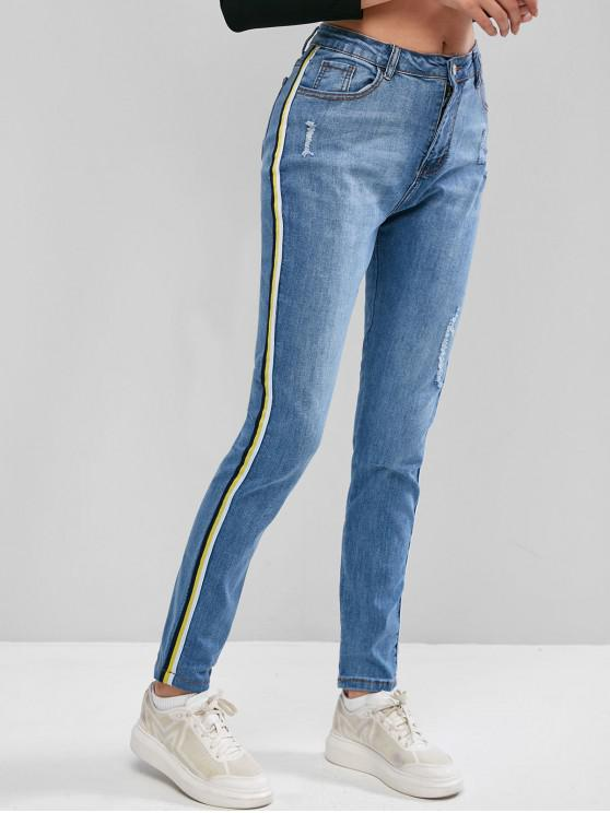 latest Frayed Side Striped Tape Jeans - DENIM BLUE L