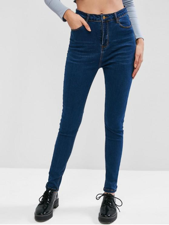trendy Pockets Cat Whiskers High Waisted Jeans - BLUE XS