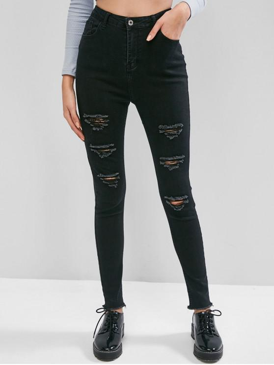 womens Distressed Skinny High Waisted Jeans - BLACK XS