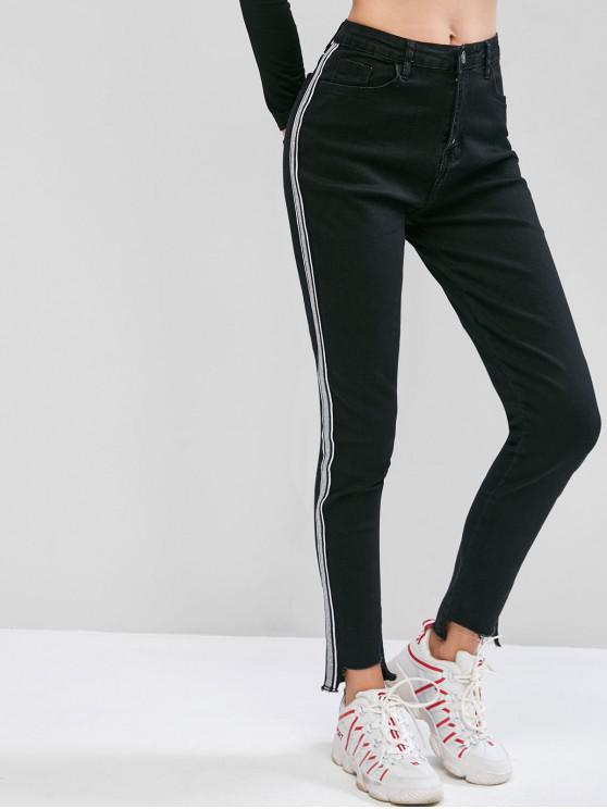 best Side Metallic Thread Striped Frayed Hem Jeans - BLACK XS