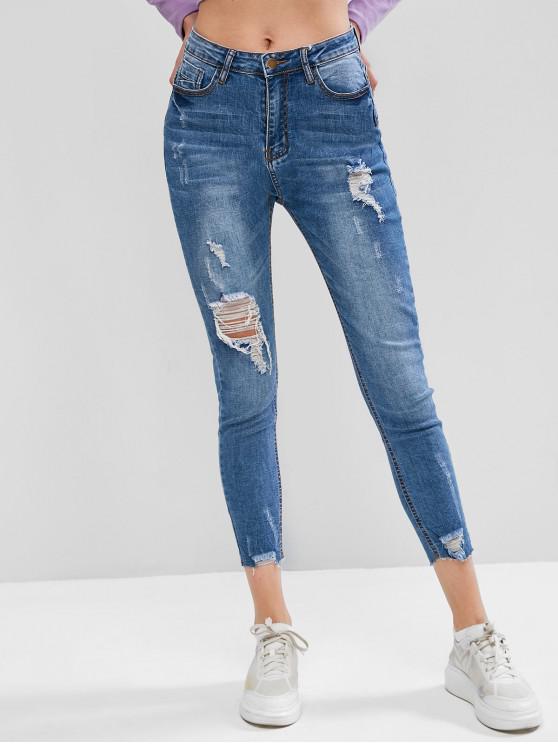 women Ripped Pocket Zipper Fly Skinny Jeans - BLUE M