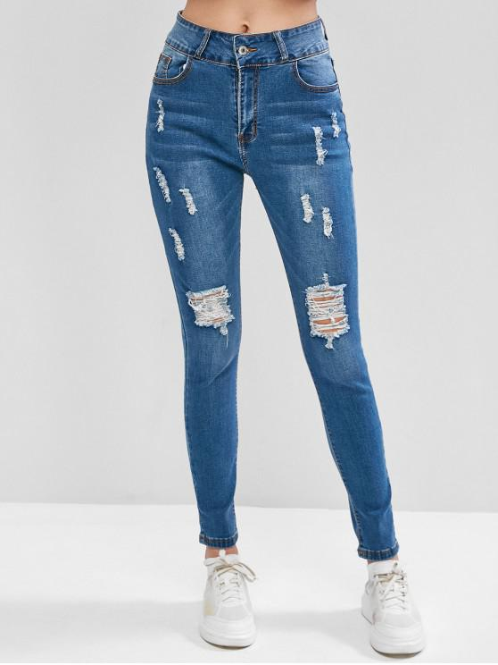 ladies Distressed High Waisted Pockets Jeans - BLUE L
