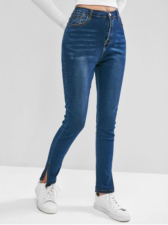 shop Slit Cuffs High Waisted Zipper Fly Jeans - BLUE M