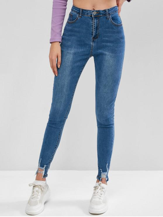 chic Ripped Hem Zipper Fly High Waisted Jeans - BLUE S