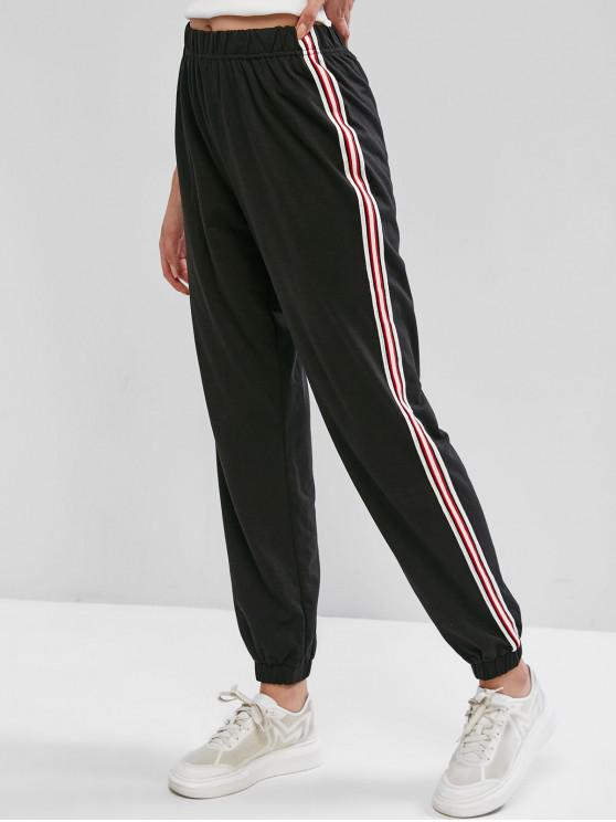 latest ZAFUL High Waisted Striped Side Jogger Pants - BLACK L