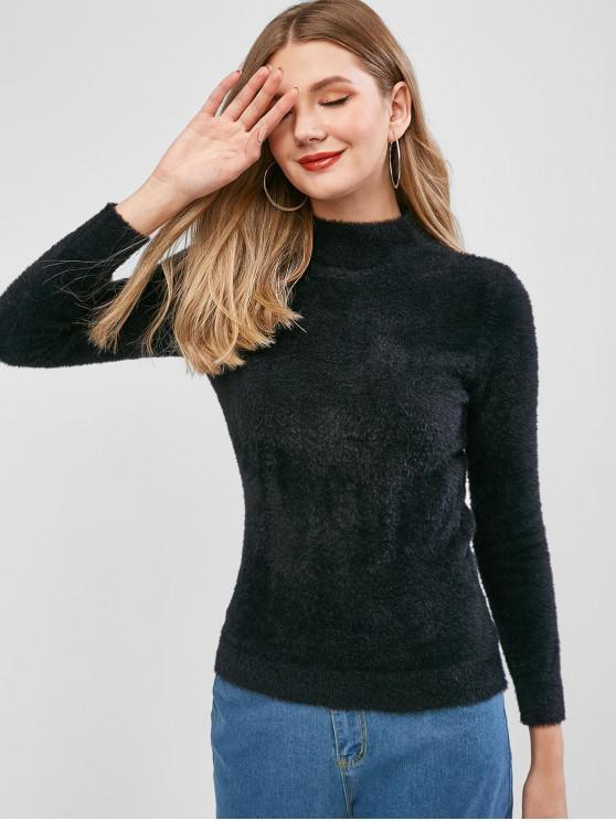 affordable Fuzzy Knit Plain Mock Neck Sweater - BLACK ONE SIZE