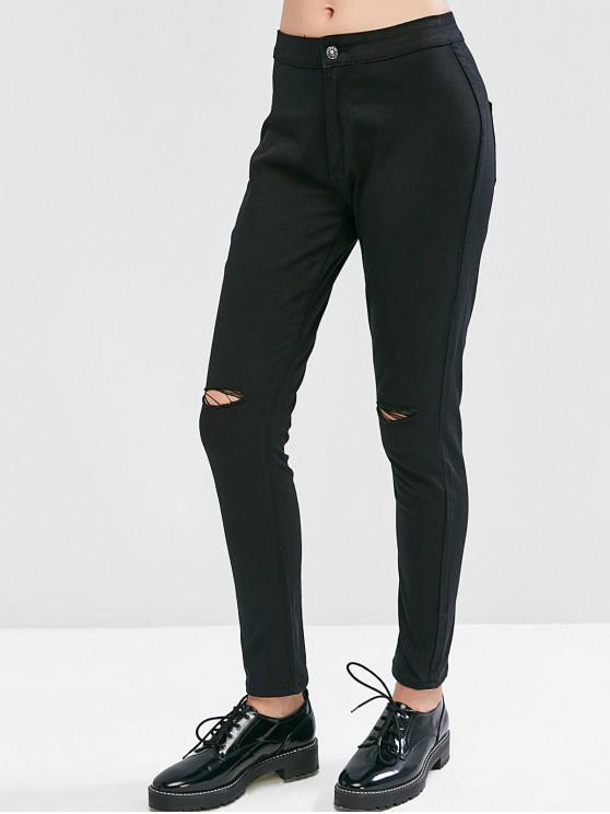 unique Ripped Knee Pocket Skinny Jeans - BLACK 2XL