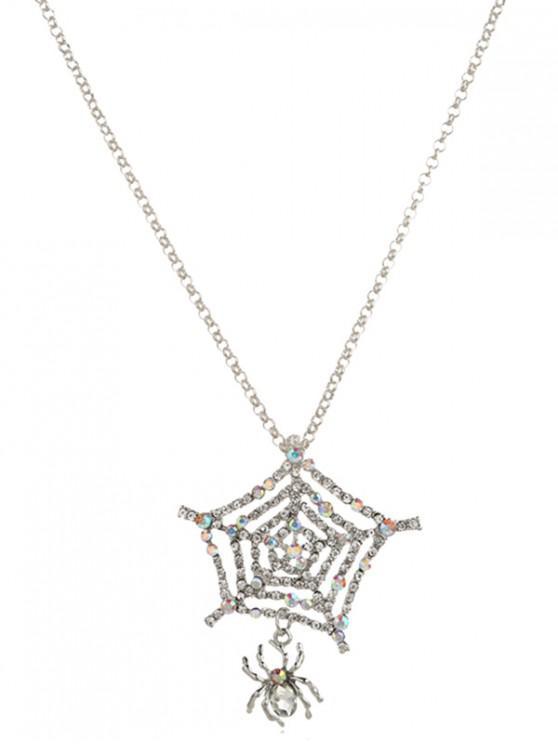 蜘蛛網水鑽吊墜項鍊 - 銀