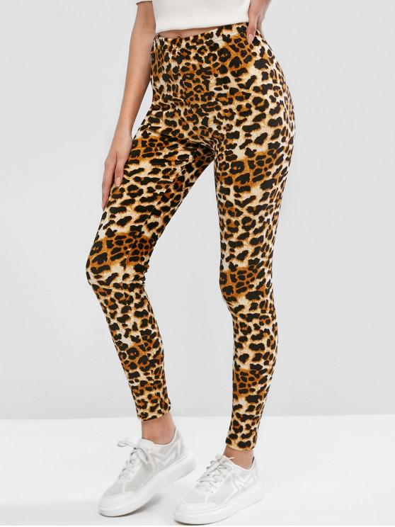 buy ZAFUL Leopard Print Fleece Skinny Leggings - LEOPARD XL