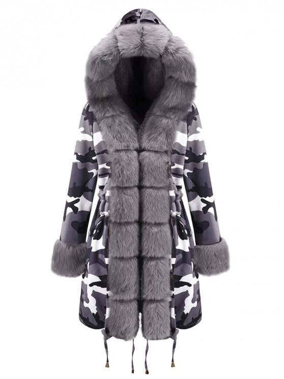 chic Camouflage Drawstring Hooded Parka Coat - GRAY M