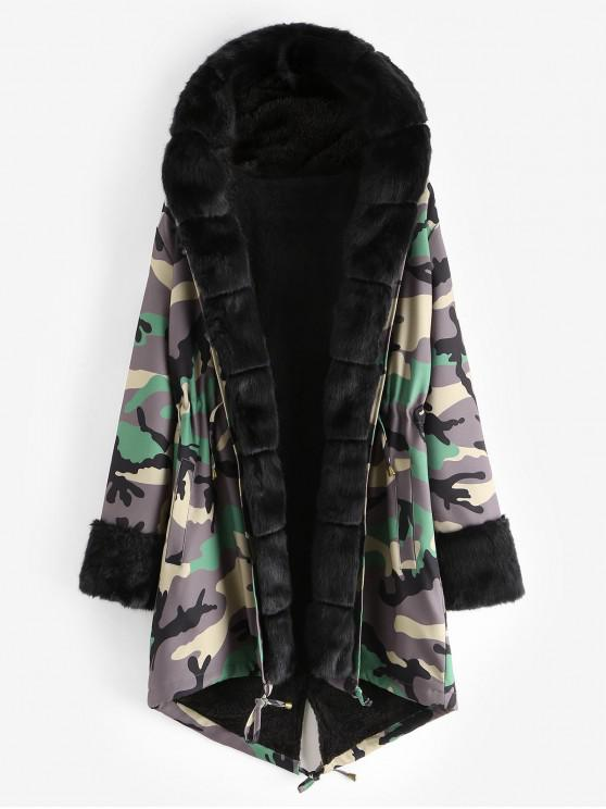 shop Camouflage Drawstring Hooded Parka Coat - ARMY GREEN XL