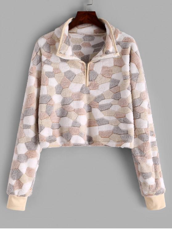 Sweat-shirt Fourré en Blocs de Couleurs à Demi-Zip - Multi L