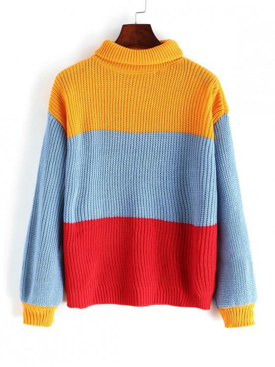 affordable Turtleneck Colorblock Stripes Jumper Sweater - MULTI S