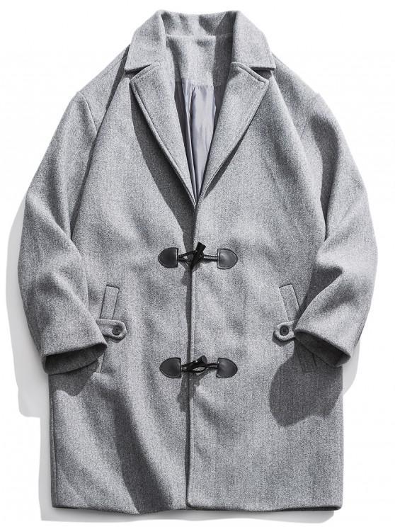 hot Horn Button Drop Shoulder Longline Coat - LIGHT GRAY M