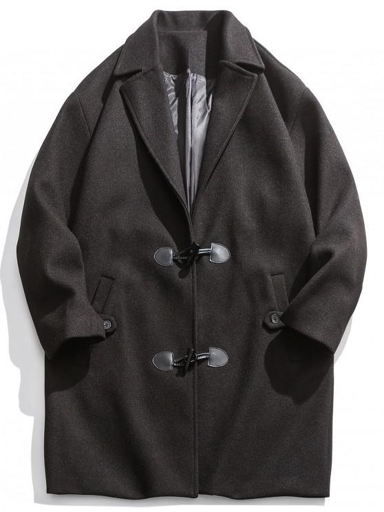 chic Horn Button Drop Shoulder Longline Coat - BLACK 3XL