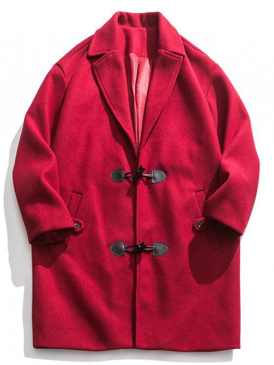 new Horn Button Drop Shoulder Longline Coat - RED 3XL