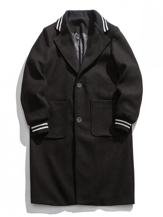 womens Striped Trim Single Breasted Lapel Woolen Coat - BLACK S