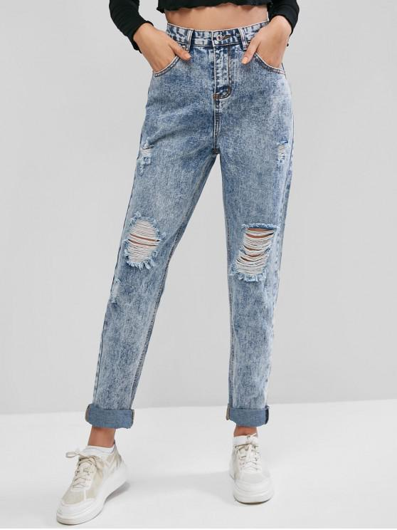 chic Snow Wash Ripped Jeans - DENIM BLUE L