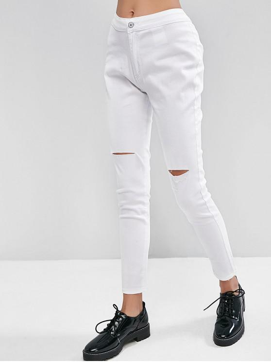 latest Ripped Knee Pocket Skinny Jeans - WHITE S