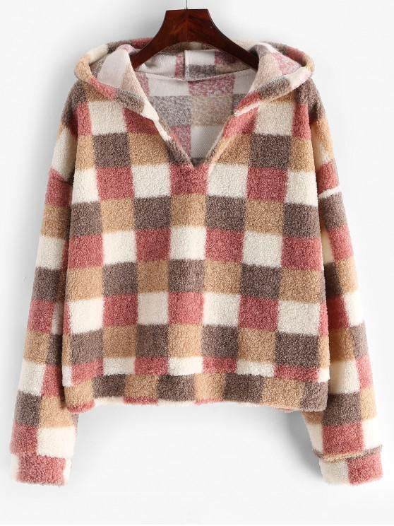 affordable Drop Shoulder Loose Plaid Teddy Hoodie - MULTI M