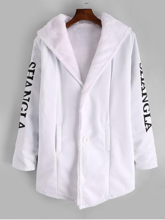 womens Letter Character Print Hood Button Faux Fur Coat - WHITE L