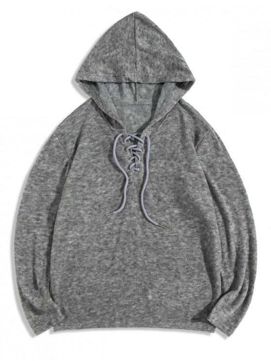fancy Lace Up Solid Casual Hooded Sweater - LIGHT GRAY XS
