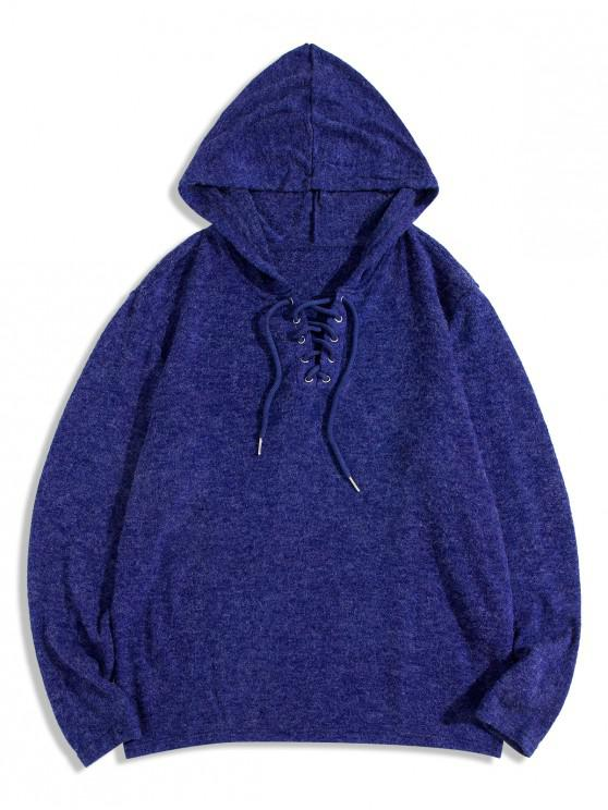 womens Lace Up Solid Casual Hooded Sweater - BLUE M