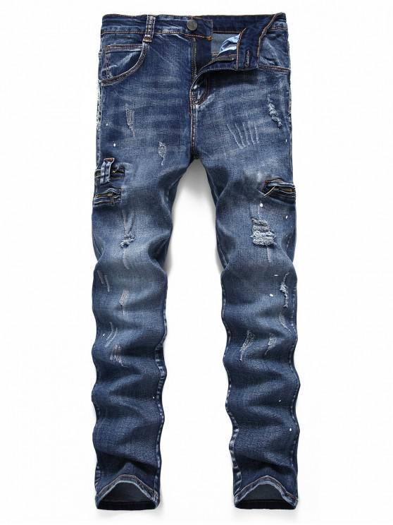 Rupti răzuibile puncte Pictura Jeans Casual - Denim albastru închis 34