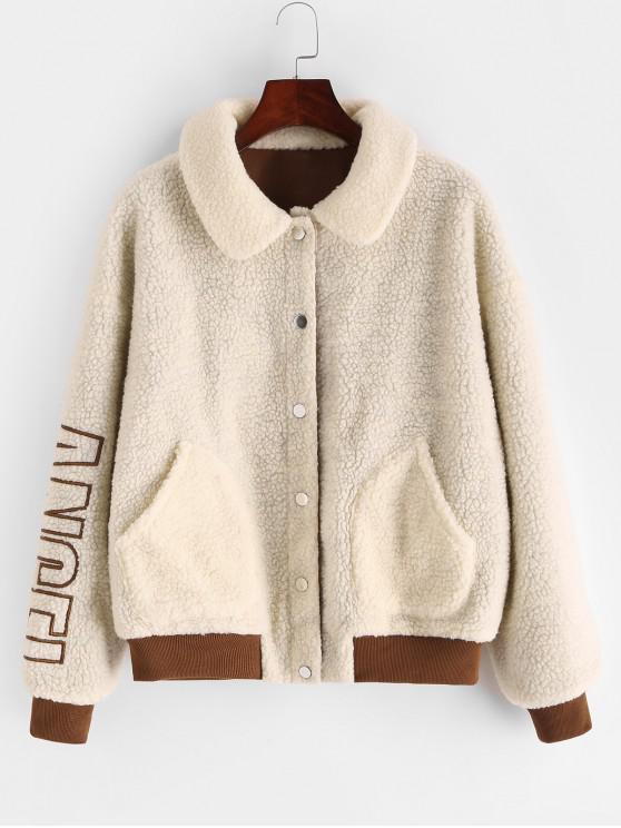 fancy ZAFUL Letter Embroidered Snap Button Teddy Jacket - LIGHT KHAKI S