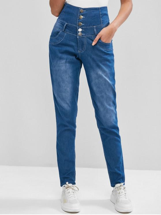 fashion Button Fly Wide Waistband Chambray Pencil Pants - DENIM DARK BLUE M