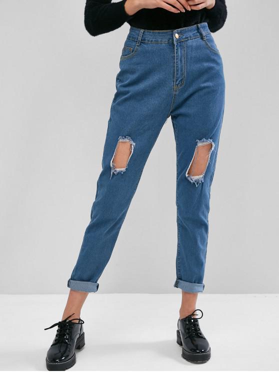best Ripped Cutout Pocket Pencil Jeans - BLUE M