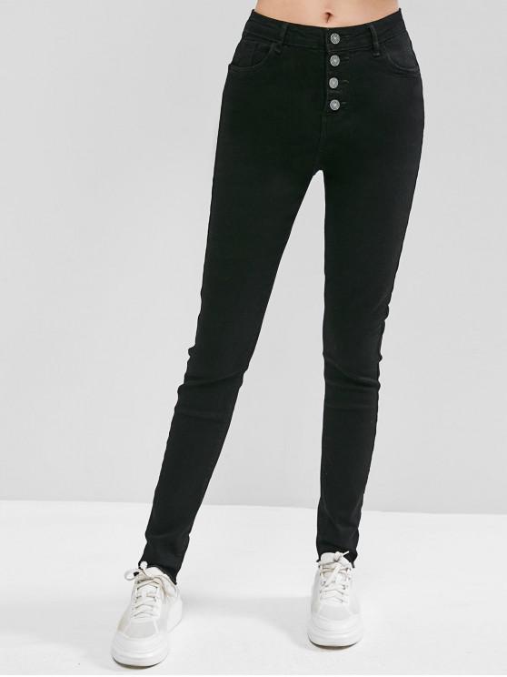 hot Button Fly Raw Hem Skinny Jeans - BLACK S