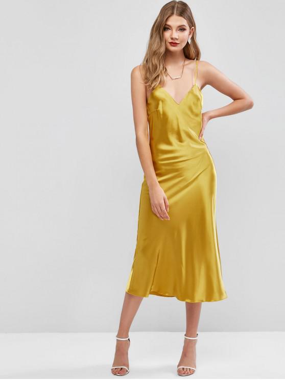 sale Satin Cami Midi Night Dress - YELLOW M