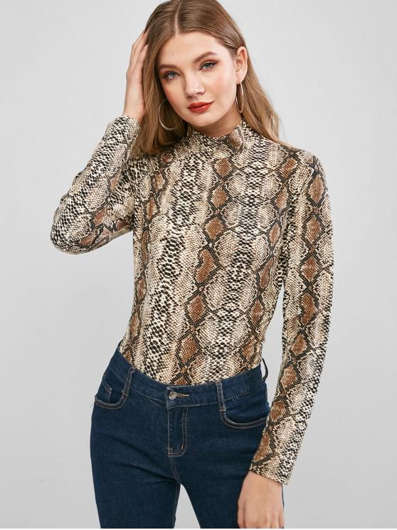 chic Leopard Snakeskin Long Sleeve Bodysuit - MULTI-A M